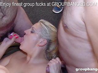 Group Sex Gangbang Milf video: Blonde German sluts likes being fucked by a big gang