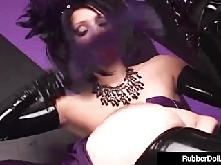 Latex Bondage Dildo video: Bondage Queen RubberDoll Spanks Hot Latex Succubus Till Pink