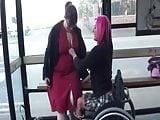 Brit Wheelchair lesbian in public