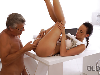 Blowjob Brunette Mature video: OLD4K. Old dad with glasses nails young pussy on the office