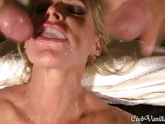 Busty Blonde Milf getting cum all over her face and ass