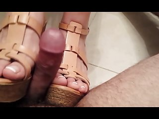 Femdom Pov Foot Fetish video: Shoejob in wedges - French pedicure (no sound)