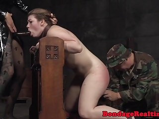 Bdsm Dildo Nun video: Spanked lesbian sub throated by strapon nun