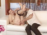Old guy and his son nicely finger wet pussy of cute redhead