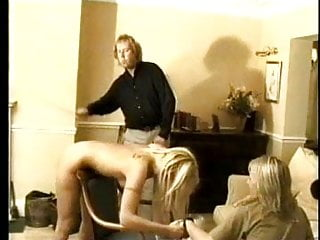 Spanking Blonde Slave video: Blonde twins stripped and spanked