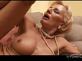 Blonde granny fucking with a young man