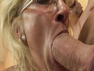 Granny Cumshot Sex Toy video: Horny grandma enjoys rimming with stepson