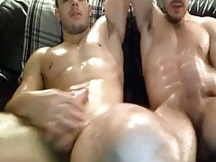 Straight guys jerking together