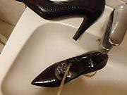 Piss in wifes brown croco high heel