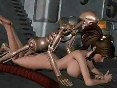 Mädchen vom Roboterskelett gefickt