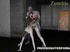 Sexy 3D Zombie Babe léché et baisée