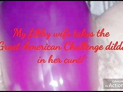 Wife Vs Fine American Compete Dildo!!