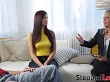 Inked teen Scarlett Mae has sexual therapy with stepdad