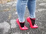 Walking in extreme heels and jeans