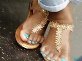 Candid of beautiful feet with nice pedis