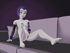 Teen Titans Raven masturbuje się