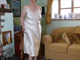 British Milf Redhead video: Ultra Gloss Cream Long Satin Nightie