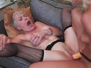 Lesbian Mature Granny video: Granny and cute girl Cherry Kiss try wild sex