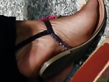 Candid ebony green toes at work 5