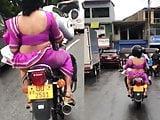 saree in a bike