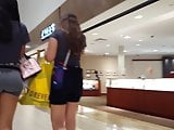Candid voyeur perfect teen ass spandex at shopping mall