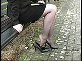 Blonde tempting in her stylish high thin stiletto heels