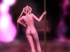 DOA Food: Nackter Marie Rose Pole Dance