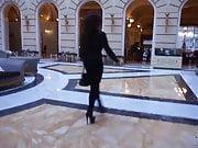 Julie Skyhigh in hot sexy legging hotel hall walking heels