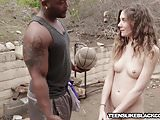 Slim teen penetrated and jizzed on by big black cock