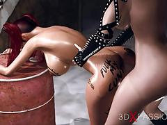 Beautiful hot shemale fucks schoolgirl whore in the basement