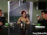 Ginger babe jerking forbidden cock before sex