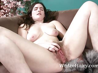 Masturbation Brunettes Sex Toys video: Snow has fun with a furry tail on her sofa