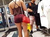 Candid voyeur brazilian teen tight shorts shopping mall