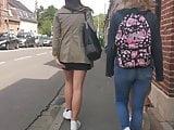 Sexy legs in tan pantyhose 01