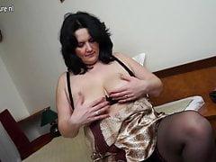 Chubby mother masturbate alone