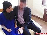 Amateur Arab babe in hijab fucked for cash