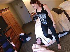 2 dee (Lilith + Jolene Hexx) ballbusting Andrea Dipre