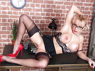 Fingering Blonde Big Tits video: Blonde big tits Secretary wanks on desk in nylons and heels