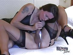 Nylon Jane sucks amazing big cock before fuckin TGirl ass