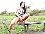 Hot Babe Brunette UpSkirt And Pee -Rubin-