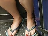 Candid feet - chubby toes on trains