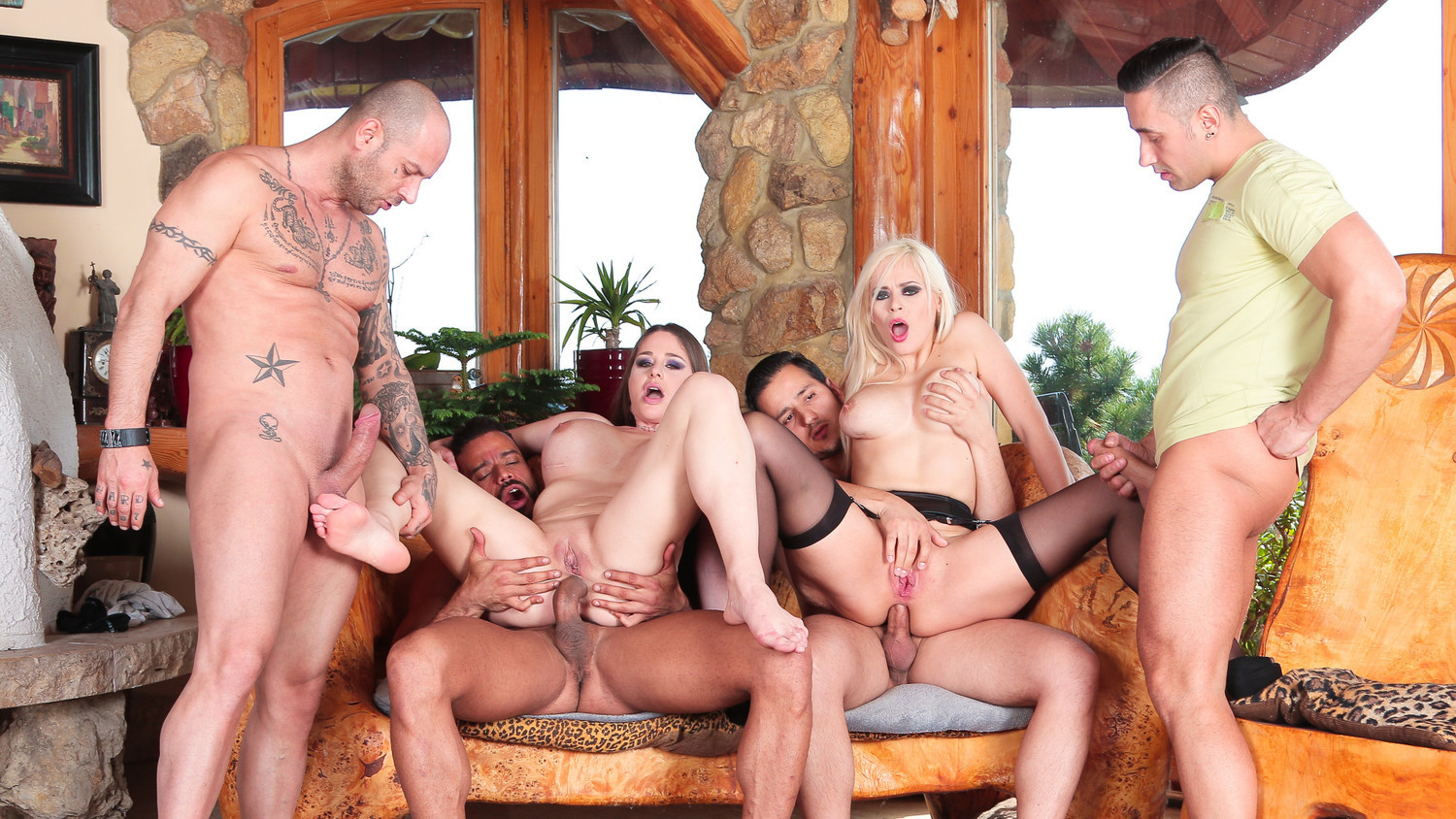 SLAM US – Hot gang bang with two busty MILFs