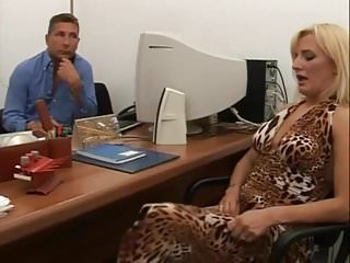 .Hairy Italian anal and pissing in the office .