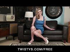 Twistys - Big-boobed UK blonde in heels fucks her vibrator