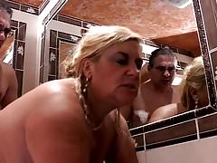 Blonde BBW in the shower and after