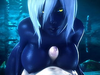 Funny Big Tits Cosplay video: Queen Nualia 3D Hentai Titjob Blue Skin With Big Tits