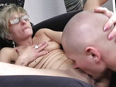 Hot skinny grandma gets fucked by her toy boy