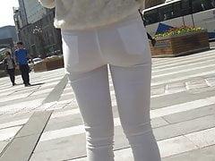 calças de brim apertado ass teen branco