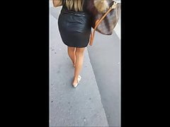 Candid Leather Ass a sexy Mules