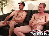 Hairy mature amateurs are giving one another a handjob